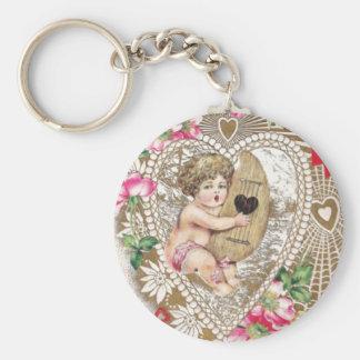 Imagem do vintage do querubim do anjo chaveiro