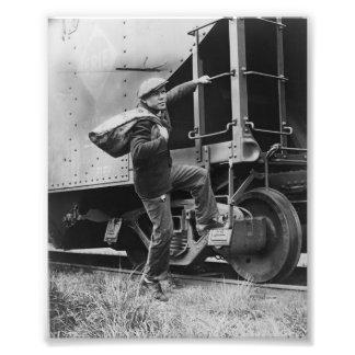 Imagem do vintage do trem do funil impressão de foto