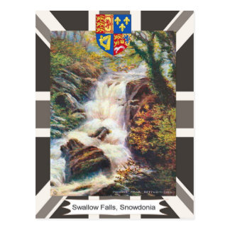 Imagem do vintage, quedas da andorinha, Snowdonia Cartão Postal