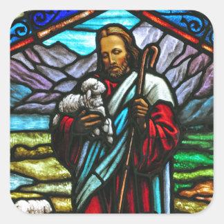 Imagem do vitral de Jesus e de cordeiros Adesivo Quadrado