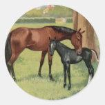 Imagem equestre do vintage do potro da égua do adesivos em formato redondos