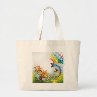 imagem  flores e borboletas bolsa