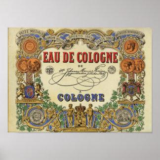Imagem parisiense romântica 1868 do perfume poster