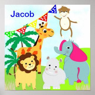 Imagem personalizada do safari de selva animais pôster
