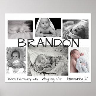 Imagem preta & branca do bebê poster personalizado