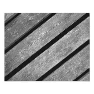 Imagem preto e branco das pranchas de madeira flyer 11.43 x 14.22cm