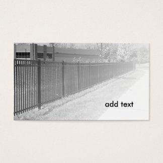 imagem preto e branco de uma cerca do ferro cartão de visitas