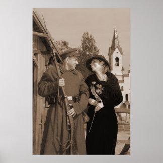 Imagem retro do estilo com mulher e soldado posteres