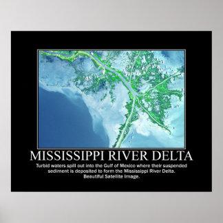 Imagem satélite do delta do rio Mississípi Posteres