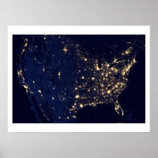 Imagem satélite dos E.U. na noite Impressão
