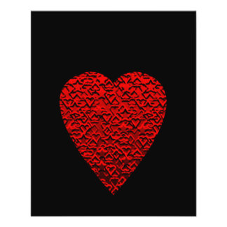Imagem vermelha brilhante do coração flyer 11.43 x 14.22cm