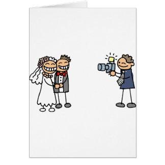 Imagens do casamento da fotografia do fotógrafo do cartão comemorativo