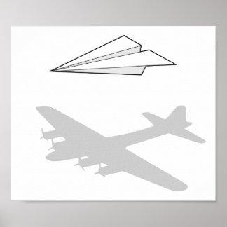 Imaginação Overactive do avião de papel Poster