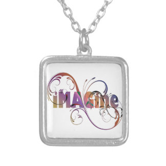 """Imagine"" a colar chapeada prata"
