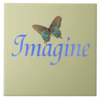 Imagine com borboleta azulejo de cerâmica