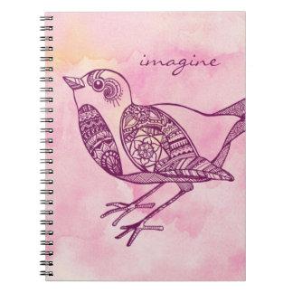"""""""Imagine"""" o caderno do pássaro na aguarela"""