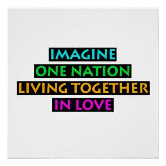 Imagine uma nação viver junto no amor poster perfeito