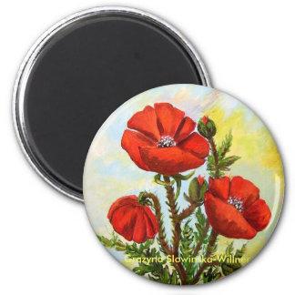 Íman de frigorífico, flores de papoila de campo, ímã redondo 5.08cm