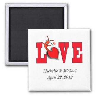 Ímãs do casamento/noivado do amor dos lagostins ímã quadrado