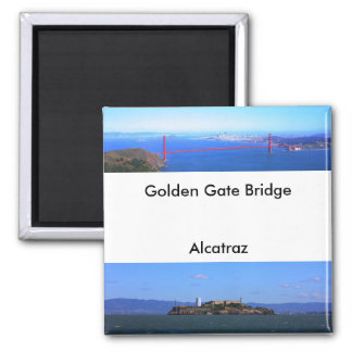 Ímãs - golden gate bridge e Alcatraz Ímã Quadrado