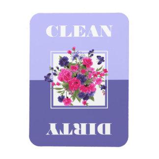 Ímãs limpos ou sujos do design da flor da máquina foto com ímã retangular