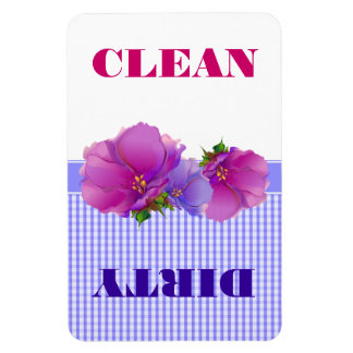 Ímãs limpos ou sujos do design floral da máquina
