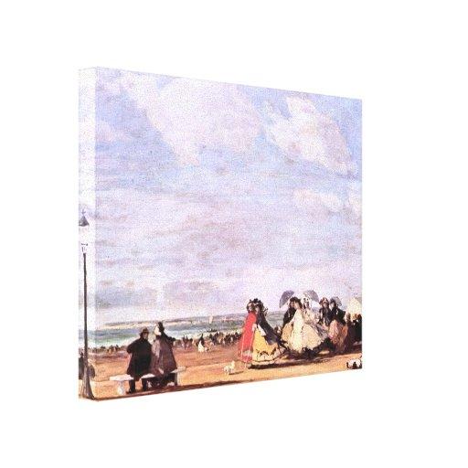 Imperatriz Eugenie de Eugene Boudin- na praia Impressão Em Tela Canvas