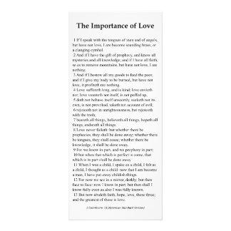 Importância do cartão da oração do amor 10.16 x 22.86cm panfleto