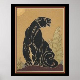 Impressão 16 x 20 da pantera preta do art deco de