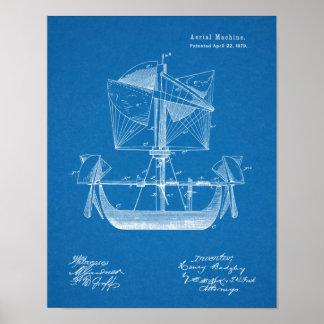 Impressão 1879 do desenho da patente do avião do