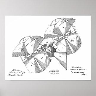 Impressão 1882 do desenho da arte do avião da