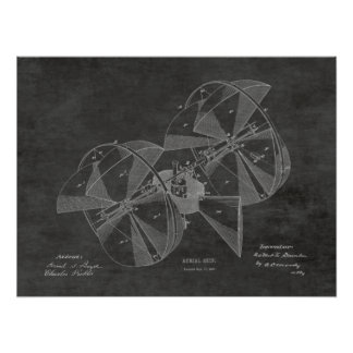 Impressão 1882 do desenho da patente do avião da