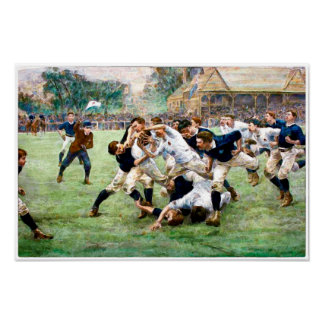 Impressão 1889 do Watercolour do rugby do vintage