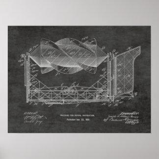 Impressão 1901 do desenho da patente do avião da