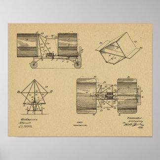 Impressão 1911 do desenho da arte do avião da