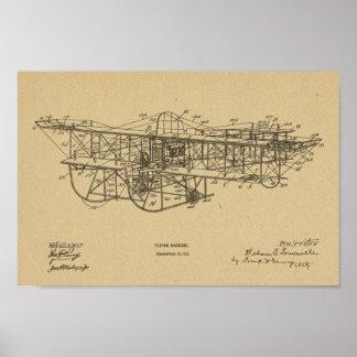Impressão 1915 do desenho da patente do avião da