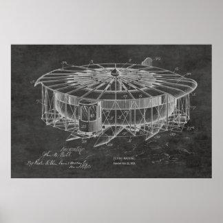 Impressão 1920 do desenho da patente do avião da
