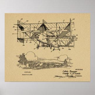 Impressão 1920 do desenho da patente do avião do