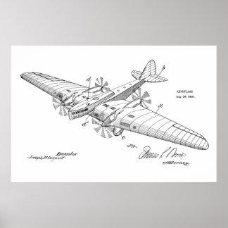Impressão 1930 do desenho da arte da patente do
