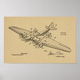 Impressão 1930 do desenho da patente do avião do