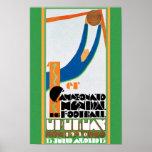 Impressão 1930 do poster do futebol do campeonato