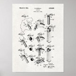 Impressão 1944 da patente do batom