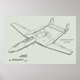 Impressão 1948 do desenho da arte da patente do