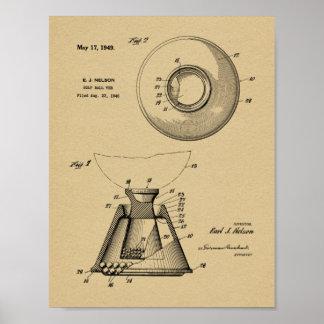 Impressão 1949 do desenho da arte da patente do T