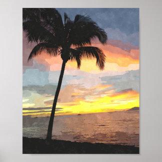 Impressão 8x10 da aguarela do por do sol da palma