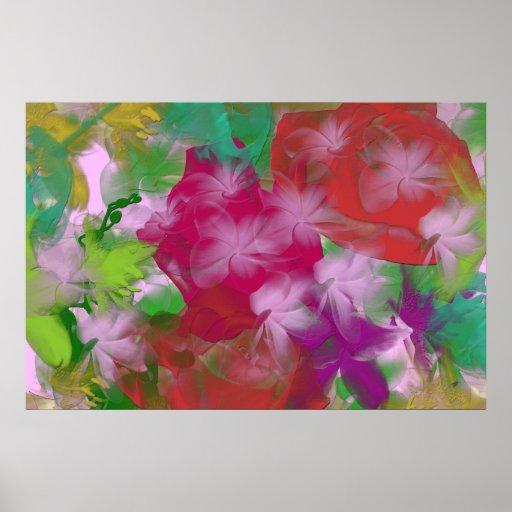Impressão abstrato das canvas de arte da flor