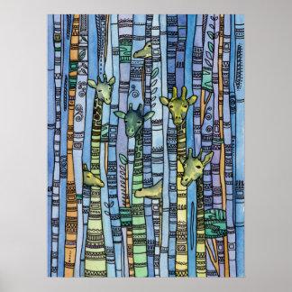 Impressão abstrato do girafa. Animal moderno azul