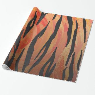 Impressão alaranjado do tigre e preto quente papel de presente