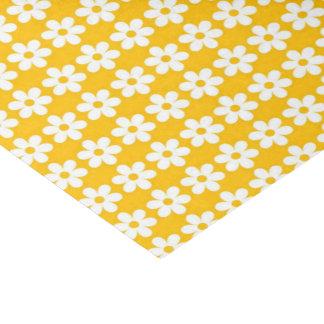 Impressão amarelo da flor lustroso papel de seda
