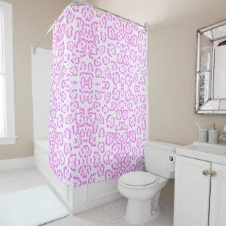 Impressão animal da chita cor-de-rosa de néon cortina para box